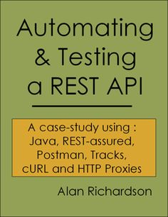 "Coming soon to an e-book store near you ""Automating & Testing a REST API"". Almost 200 pages of ebook testing, coding and programming goodness. Including FREE Bonus Videos and masses of Java Code to copy and paste. #RESTAPITesting, #Postman, #Postmanclient, #APITesting, #Testing, #cURL, #TechnicalTesting, #TechnicalWebTesting, #ExploratoryTesting, #RESTAPIDevelopment, #WebDevelopment, #RESTProgramming, #SoftwareTesting, #SoftwareTester, #WhatIDidOverTheChristmasHolidays"