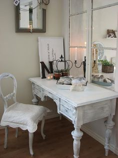 """shabby chic vanity. With the letter """"N"""" :)"""