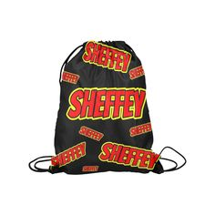 "Sheffey Red Comic Fonts 9719 Medium Drawstring Bag Model 1604 (Twin Sides) 13.8""(W) * 18.1""(H)"