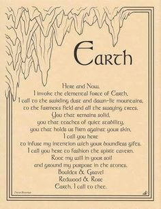 """Call for the sturdy influence of the element of Earth with the words provided in the Earth invocation parchment poster, a handy reference for invocation within your ritual magic. 8 12"""" x 11""""."""