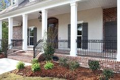 Willow Bend, Lot 52 - Ron Lee Homes Front porch wrapped with wrought iron porch railing. Wrought Iron Porch Railings, Front Porch Railings, Front Porch Design, Porch Columns, Deck Railings, Front Deck, Stair Railing, Pergola With Roof, Pergola Patio