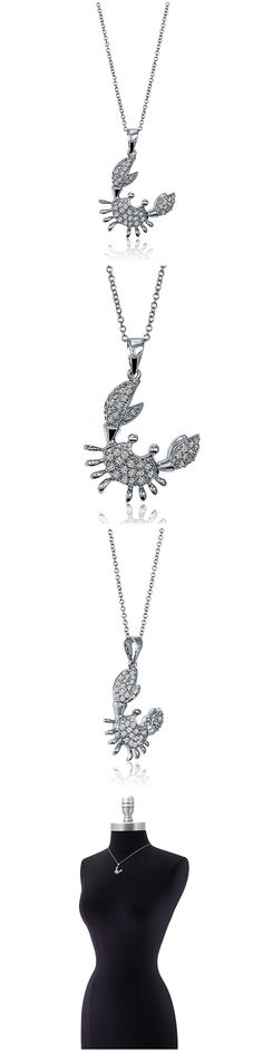 Sterling Silver CZ Crab Fashion Necklace