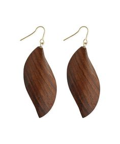 Look what I found on #zulily! Wood & Goldtone Wave Drop Earrings #zulilyfinds