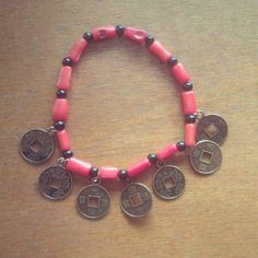Coral Bamboo and Chinese Beaded Bracelet on Etsy, $10.00