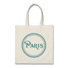 "Chic Teal ""Paris"" Pearls Design Tote/Shopping Bag"