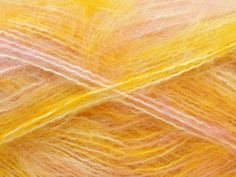 Composition 70% Mohair, 30% Acrylique, Yellow, White, Pink, Brand Ice Yarns, Yarn Thickness 5 Bulky  Chunky, Craft, Rug, fnt2-24685