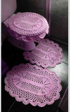 Crochet For Home - Bathroom Crochet Kitchen, Crochet Home, Crochet Crafts, Crochet Doilies, Crochet Baby, Crochet Projects, Knit Crochet, Owl Bathroom, Bathroom Sets