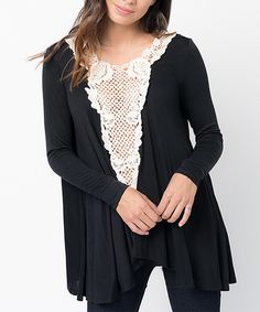 Look at this Caralase Black Crochet Draped Tunic on #zulily today!