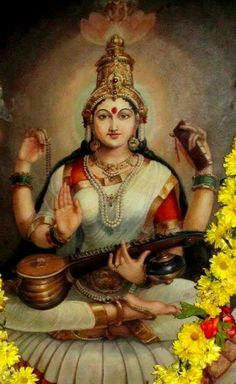 Wishing All Friends that the Colour, Bliss and the Beauty of Navarathri be with you throughout your life! On the Occasion of Navarathri Festival, here are a few collection of pictures of Goddess… Saraswati Mata, Saraswati Goddess, Shiva Shakti, God Pictures, Amazing Pictures, Lord Shiva Family, Indian Goddess, Tanjore Painting, Divine Mother