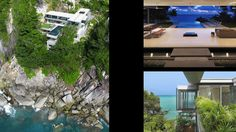 Villa Amanzi, Thailand  designed by Original Vision and built in 2008. Perched on a 197-foot-high cliff overlooking the turquoise waters of the Andaman Sea