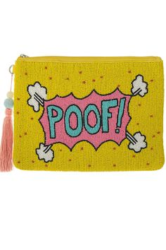 """Ekaterini Pop Art Collection """"POOF"""" clutch with pink long tassel Jewelry Shop, Pop Art, Yellow, Tassel, Pink, Collection, Jewlery, Jewellery, Tassels"""