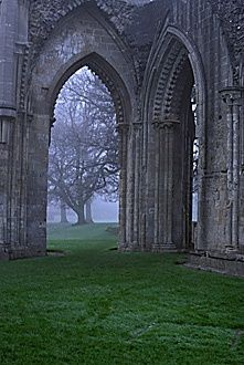 Glastonbury Abbey. - The legend of King Arthur. Glastonbury Abbey is said to be the fabled island of Avalon,and King Arthur's last resting place. A 12th century story tells of the discovery of Arthur's and Queen Guinevere's grave in the Abbey grounds,but there is no archaeological proof.  Glastonbury Abbey,  Great Britain