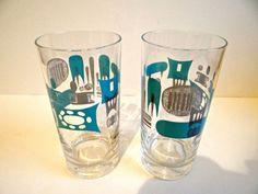 Vintage Pair of Mid Century Blue Heaven Glasses by TimelessTreasuresbyM on Etsy