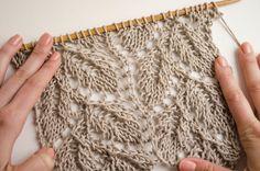 Leaf Knitting Pattern, Lace Knitting Stitches, Lace Knitting Patterns, Knitting Charts, Free Knitting, Lace Patterns, Stitch Patterns, Gilet Crochet, Knit Crochet