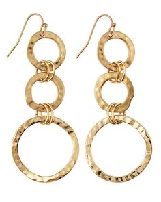 Hammered Circle Triple-Drop Earrings by Lydell at Neiman Marcus Last Call.