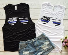 Thin Blue Line Sunglasses Ladies' Muscle Tank - Thin Blue Line American Flag - Back the Blue Tank - Blue Lives Matter Shirt - Police Wife Gi Thin Blue Line Flag, Thin Blue Lines, Police Wife, Police Cars, Nine Line Apparel, Police Outfit, Police Shirts, Blue Sunglasses, Shirt Outfit