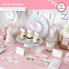 Pajarito rosa: Kit decoración Baby Shower Gifts For Guests, Baby Shower Favors, Baby Shower Cakes, Baby Shower Decorations, Diy For Girls, Gifts For Girls, Bird Party, Baby Shower Table, Baptism Party