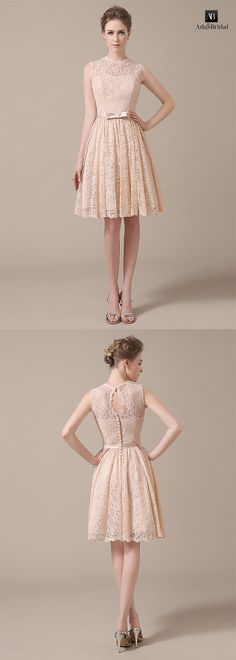 Chic lace jewel neckline knee-length a-line bridesmaid dresses. It is for an outdoor wedding. (WBD89104) - Adasbridal.com