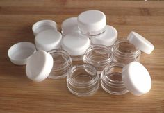 Tiny Cosmetic Sample Jars: Package of 10 lip balm by SOMAPRODUCTS