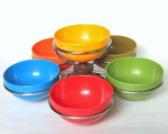 Mid-Century Luthje Denmark Rotating Condiment Caddy with Rainbow Melamine Bowls
