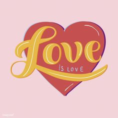 Love is love typography design illustration Free Vector Free Vector Illustration, Love Illustration, Illustrations, Doodle Lettering, Face Sketch, Inspirational Phrases, Mode Shop, Creative Typography, Love Wallpaper