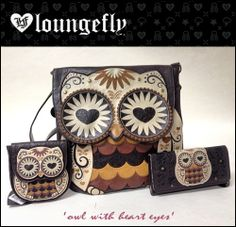 ' Owl With Heart Eyes ' is the latest collection of bags by Loungefly. This cute range includes ' owl with heart eyes coin bag ', ' ow. Owl Purse, Owl Quilts, Owl Bags, Felt Owls, Owl Crafts, Owl Patterns, Coin Bag, Cute Owl, Heart Eyes