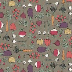 Makower UK - Home Grown - Vegtables in Grey