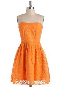 Love the ModCloth Glow Dancing Dress on Wantering. Cute Summer Dresses, Spring Dresses, Cute Dresses, Unique Dresses, Vintage Dresses, Beautiful Dresses, Orange Dress, Orange Orange, Dance Dresses