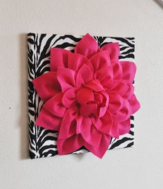 Hot Pink Wall Hanging -Hot Pink Dahlia on Black and White Damask Print 12 Canvas Wall Art- Baby Nursery Wall Decor- Room Ideias, Zebra Decor, White Damask, White Zebra, Baby Wall Art, Wall Décor, Diy Wall, Pink Walls, Pink Zebra Rooms