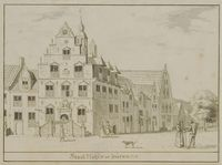 Stad Huys te buren, 1728 Beschrijving: Stadhuis van Buren aan de Markt voor de wijziging van 1739 Datering: 1728 Maker: Serrurier, L.P ; naar anoniem voorbeeld