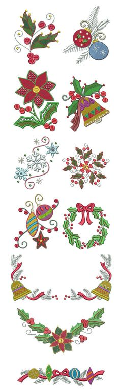 Embroidery | Free Machine Embroidery Designs | Jacobean Christmas  @Designs by JuJu