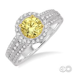 1 1/4 Ctw Diamond Engagement Ring with 5/8 Ct Round Cut Yellow Center Stone in 14K White and Yellow Gold www.christensenjewelers.com