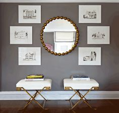 stools, mirror, art arrangement