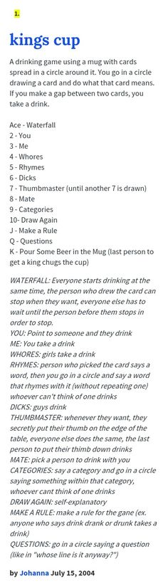 31 New Ideas Drinking Games For Parties Friends Alcohol Adult Party Games, Adult Games, Sleepover Games, Adult Fun, Fun Drinking Games, Drinking Games With Cards, Kings Cup Rules, Friends Drinking Game, Drinking Games
