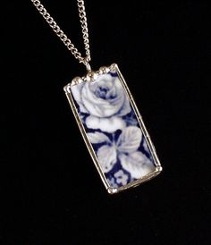 Broken china jewelry pendant necklace flow blue rose china by dishfunctionldesigns