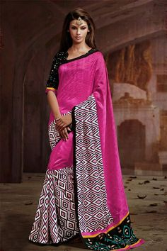 Scintillating Deep Pink, White Silk Printed Half-Half Saree