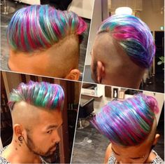 Hair Goals!!! Japanese beautician @Hitomi02250 used Manic Panic on her lucky client for this awesome hair with thin, colorful streaks. To get all of these shades for yourself, you only need three colors: Hot Hot Pink, Voodoo Blue, and Siren's Song. If you allow the different shades of dye to overlap slightly when applying, you will be able to attain all the beautiful nuance that she achieved here.