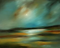 "Laura Blue Palmer; Oil, 2007, Painting ""Moon and Water"""