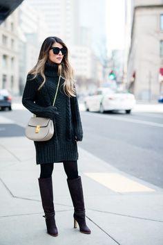 Pam Hetlinger vestindo um H & M vestido de gola alta camisola, Club Monaco fivela de inicialização na altura do joelho, óculos de sol de Celine, Chloe cinza chamou saco, preto e calças justas
