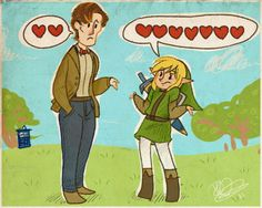 """""""You've got two hearts? I start with three and end up with, like, twenty."""" Or at least that's what he'd say if Link ever said anything."""