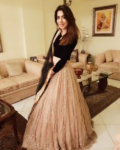 Lehnga Choli with plain black Blouse. Net Mukesh Work Duppata with Border. Fill Embroidered Lehnga with Heavy work on Border. Indian Bridal Outfits, Indian Designer Outfits, Indian Gowns Dresses, Pakistani Dresses, Pakistani Bridal, Lehnga Dress, Lehenga Gown, Bridal Lehenga, Indian Lehenga