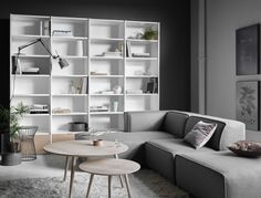 Copenhagen wall system $4,389, Berlin table lamp $199, Wire stool $169, Bornholm coffee tables From $149, Carmo sofa with resting unit from $3,099