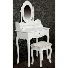 Consolle con specchio e sgabello, mobile da toeletta bianco