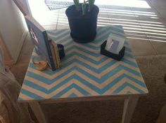 Aqua Chevron Table - Made by Liz - Philosophy of a Cynic