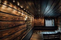 Sauna decorated with burned wood. Spa Sauna, Sauna Room, Building A Sauna, Torch Wood, Diy Wood Stain, Sauna Design, Outdoor Sauna, Spa Interior, Spa Rooms