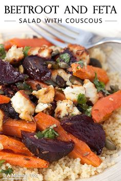 Wholesome beetroot and feta salad. Honey roasted carrots & beetroot, feta, couscous and toasted pumpkin seeds plus a lime and coriander dressing.