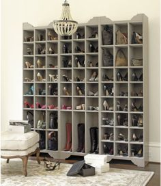 DIY: Ballard Designs Inspired Shoe Storage Plans - this is a great project, with detailed plans! A dream section of my dream walk-in closet! Shoe Storage Tower, Shoe Storage Plans, Shoe Storage Solutions, Boot Storage, Storage Ideas, Purse Storage, Creative Storage, Creative Ideas, Closet Bedroom