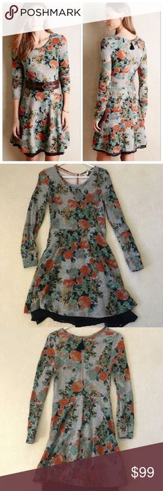 Anthropologie Terry Floral Fit & Flare Dress terry floral fit and flare dress GENTLY WORN - by brand Saturday/Sunday - cotton, polyester, rayon, French terry - back zip Anthropologie Dresses Long Sleeve