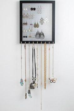 Jewelry Organizer Stylish Acrylic Gold Framed Necklaces