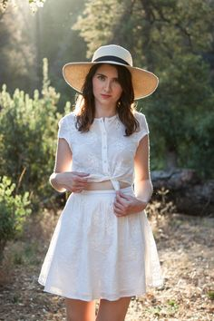 Embroidered tie front summer dress
